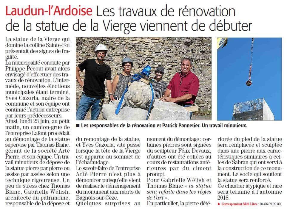 Rénovation de la Vierge à l'enfant à Laudun